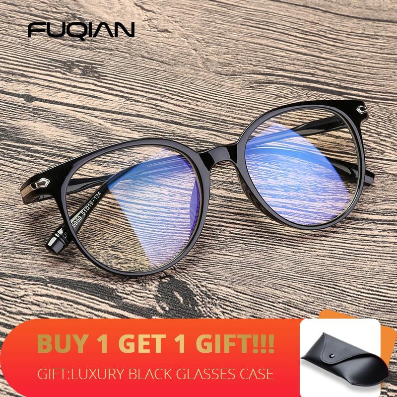 FUQIAN Transparent Round Glasses Frame Women Men 2020 Fashion Women Optical Glasses Clear Frame Blue Light Eyeglasses Computer