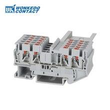 Din-рейку клеммный блок PT2.5-QUATTRO заменить Феникс 4 проводника Электрический провод пружинное соединение толчок в проводниках 10 шт