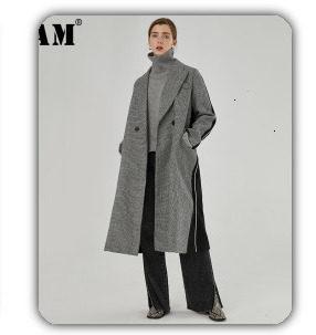 [EAM] black plaid big size Knitting Cardigan Sweater Loose Fit V-Neck Long Sleeve Women New Fashion Autumn Winter 2019 1K356 41