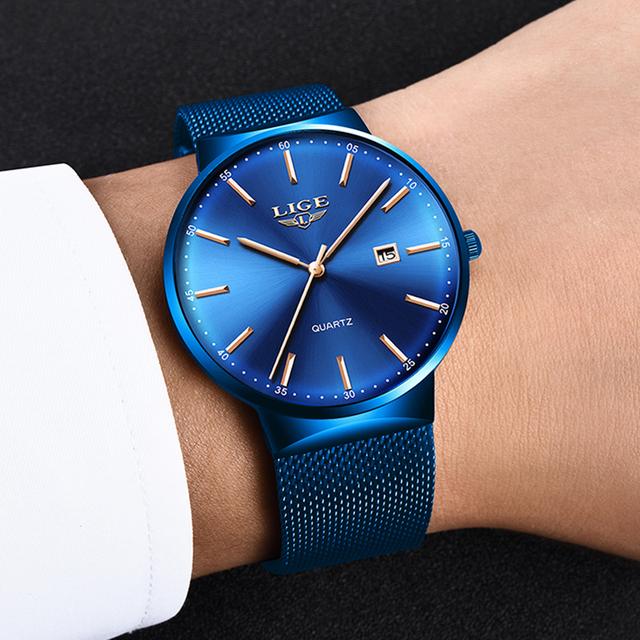 LIGE 2019 New Mens Watches Top Luxury Brand Man Fashion Blue Quartz Wrist Watch Sport Waterproof Watch For Men Relogio Masculino