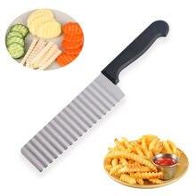 Trancheuse à pommes de terre en acier inoxydable, Long, pâte, légumes, fruits, couteau ondulé, coupe-pommes de terre, hachoir