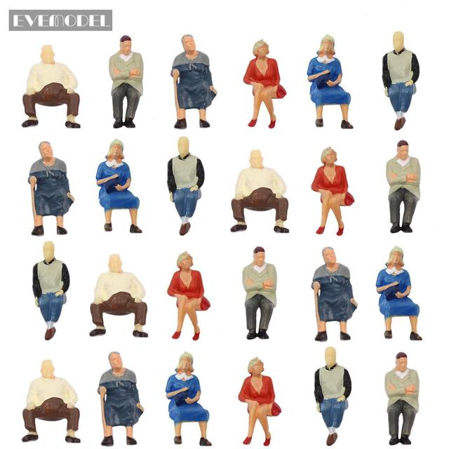 P4804 24 pcs All Seated Figures O scale 1:48 Painted People Model Railway NEW 1