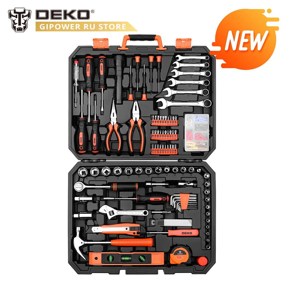 DEKO 208 шт. профессиональный набор инструментов для ремонта автомобиля Авто трещотка Двусторонняя отвертка гнездо механические инструменты