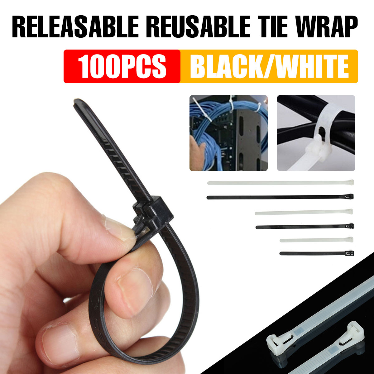 100 X STRONG HEAVY DUTY RE-USABLE RELEASABLE BLACK CABLE ZIP TIES 7.6mm X 300mm