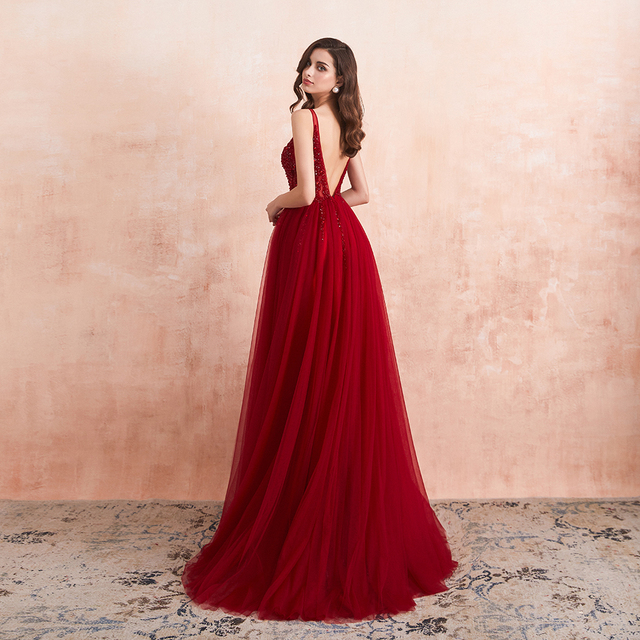 Beading Prom Dresses 2021 Long Sexy V-Neck High Split Tulle Sweep Train Sleeveless Evening Gown A-Line Backless Vestido De 2