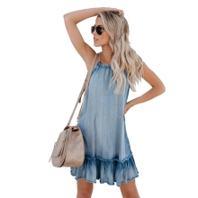 Summer 2019 Women Denim Dress Ladies Halter Bandage Elegant Ruffles Jeans Dresses Women A-line Sundress Denim Vestidos denim dress 2019 summer slim sweet style strap jeans dress women preppy suspender denim sundress denim overall mini dress