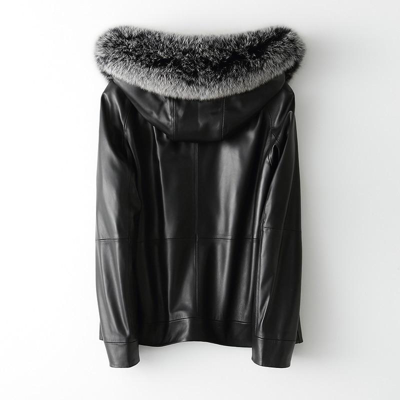2020 Winter Genuine Leather Jacket Women Hooded Fox Fur Hooded Sheepskin Coat Women's Down Jackets AM81785 KJ3717