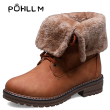 PUHLLM Best Sale 2019 New Martin Boots Short with Winter Round Head Flat Solid Color Lace Casual BootsF22