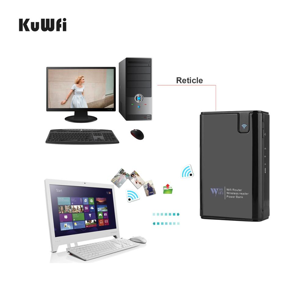 KuWFi Wireless Data Share SD/TF/CF Card Reader 300Mbps Wireless Router&Repeater Power Bank 6000MAH RJ45 For IOS Android