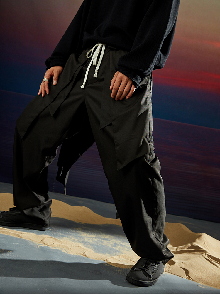 Clothing Pants Removable Patchwork Men's Fashion New Skirt Singer-Costumes Culotte Hair-Stylist