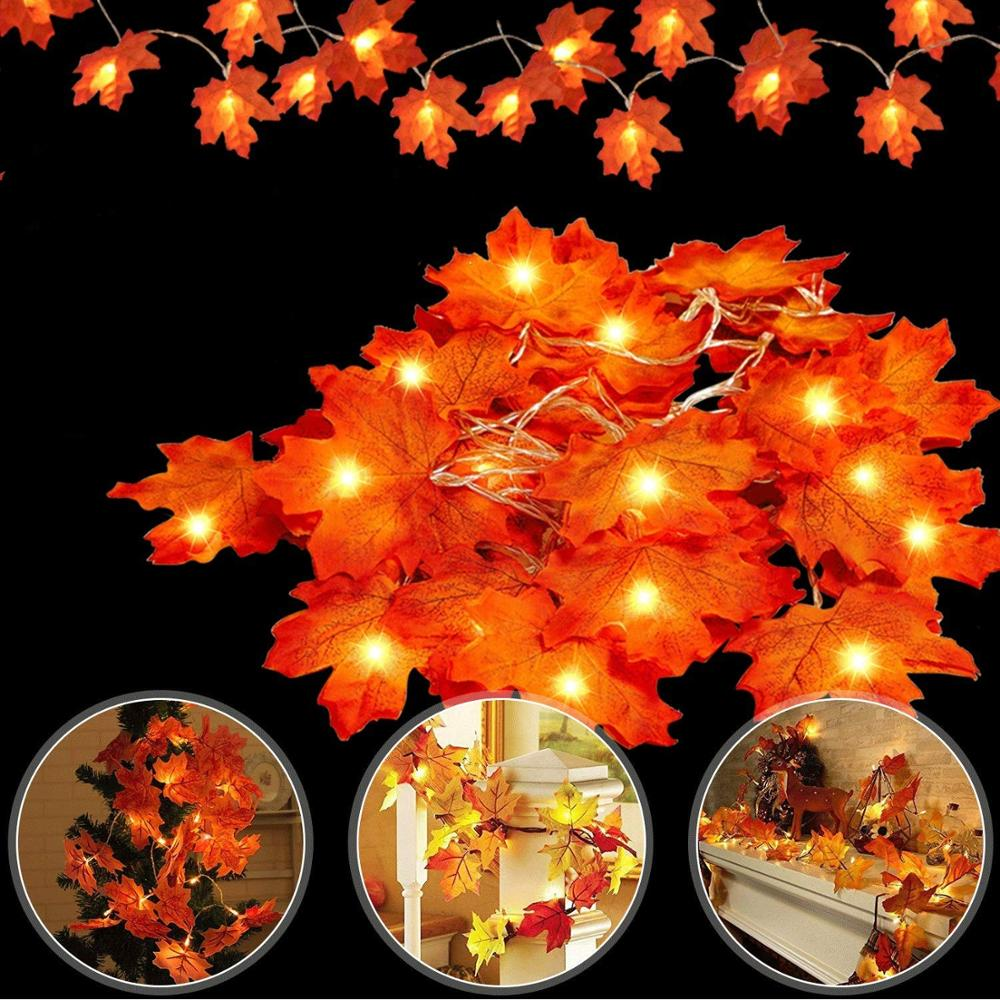 LED Maple Leaves Garland Warm White Fairy String Lights Decoration For Autumn Christmas Thanksgiving Halloween Party Battery/USB