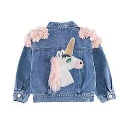 Babyinstar/2019 куртка для маленьких девочек Милая одежда с изображением единорога Съемная джинсовая куртка с капюшоном одежда с радугой