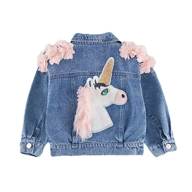 Babyinstar 2019 bébé fille veste mignon licorne tenue détachable à capuche Denim veste arc-en-ciel vêtements Jean vestes pour enfants