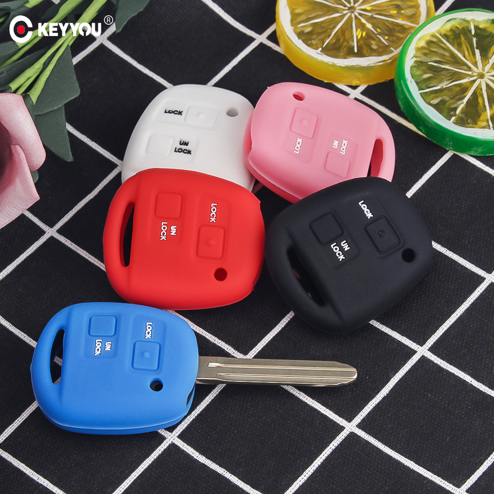 KEYYOU 2 Buttons Silicone Car Key Fob Case Cover Skin For TOYOTA CAMRY RAV4 Corolla PRADO YARIS Tarago For LEXUS