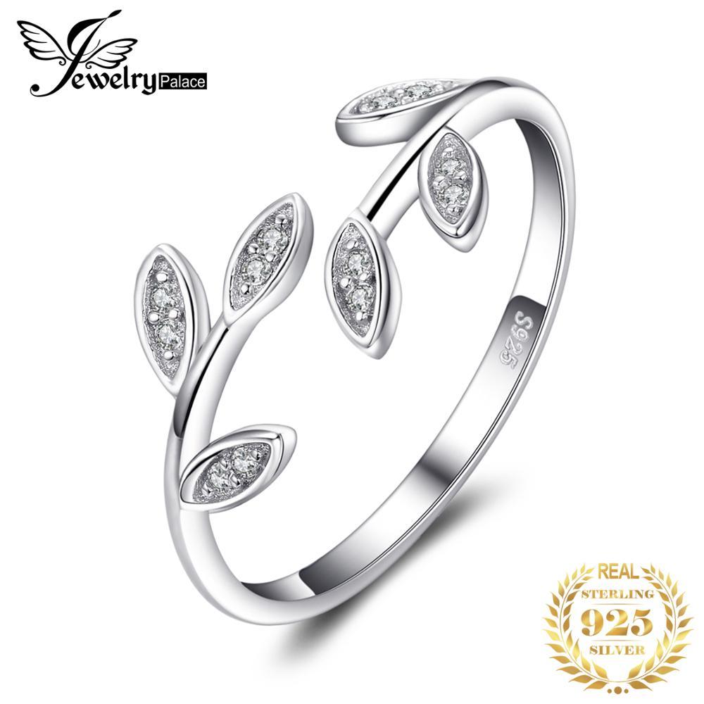 JewelryPalace-Anillo de plata de primera ley con forma de hoja de olivo para mujer, sortija, plata esterlina 925, Circonia cúbica, zirconia, circonita, zirconita, 925 anillos de plata esterlina
