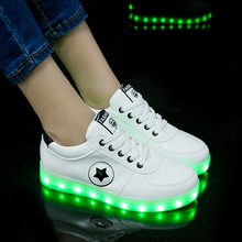 Size 27-40 Fashion Good Children LED Glowing Luminous Sneakers With Light Up Shoes