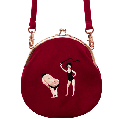 TANTO Store 2019 New YIZI Women Vintage Bag Velvet Embroidery Women Messenger Bags In Semi-circle Round Shape Original Designed