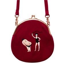 Женская винтажная сумка YIZI store, бархатная сумка мессенджер с вышивкой, полукруглая круглая сумка оригинального дизайна, 2020