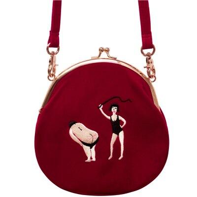 YIZI Women Vintage Bag Velvet Embroidery Women Messenger Bags In Semi-circle Round Shape Original Designed 2019 New TANTO