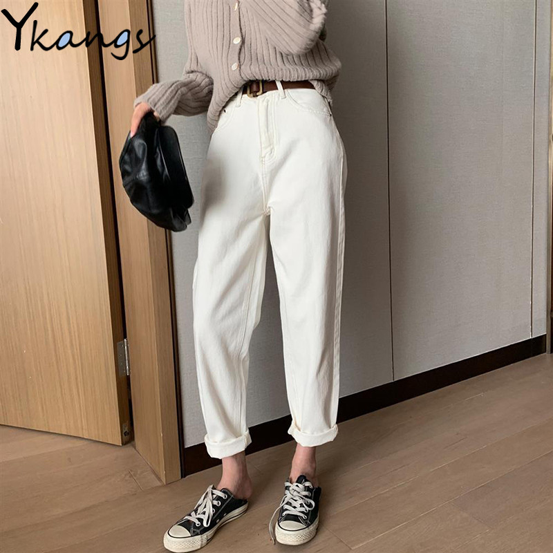 Women Vintage High Waist White Jeans Mom Plus Size Slim Harem Denim Pants Female Casual Spring Ankle Length Streetwear Trousers