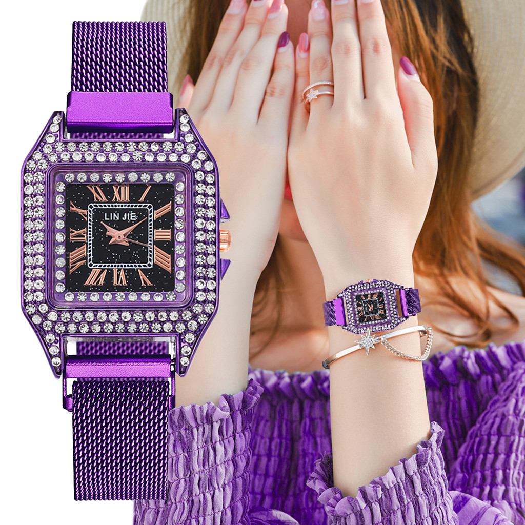 Women Watches Quartz Watch Full Diamond Watch Rhinestone Magnetic Buckle Strap Clock Relogio Feminino Steel belt Bracelet YE1