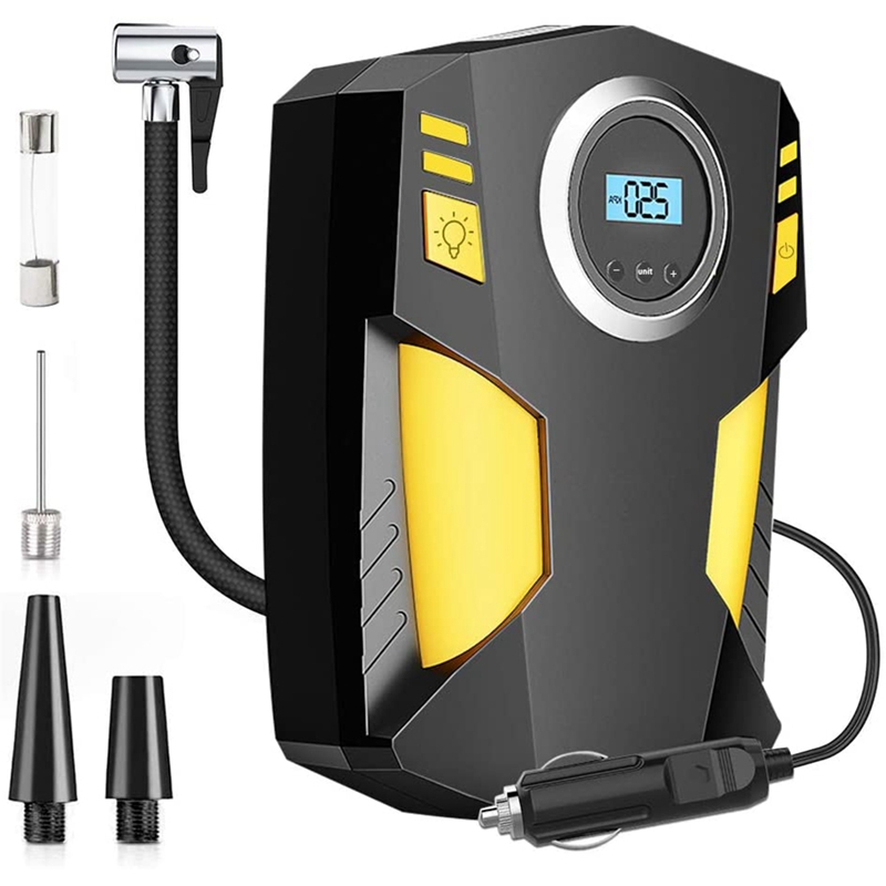Digital Tyre Inflator, Portable Air Compressor Tyre Pump DC 12V 150PSI with LED Light for Car/Bicycle/Motorcycle/Balls