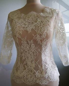 High Quality Ivory Lace Bridal Jacket With Long Sleeve Bolero Custom Made Wrap Bridal Accessories