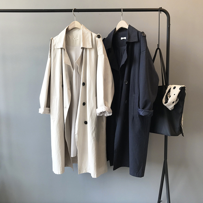 Women's Mid-length Coat Windbreaker Spring Autumn Wild Fashion Casual  Solid Color Lapel Long Sleeve Medium Jacket Windbreaker