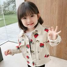 Джинсовая куртка для девочек новое осеннее Детское пальто хлопковая