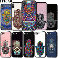 IYICAO Hamsa Hand Amulet Psychedelische Art Zachte Siliconen Telefoon Case voor iPhone XR X XS 11 Pro Max 5 5S SE 6 6S 7 8 Plus Cover(China)