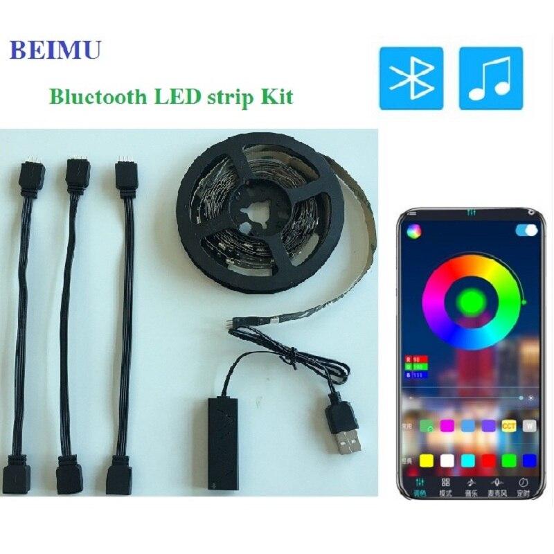 RGB Tape Bluetooth USB LED Strip TV Backlight Flexible Neon Lamp 5V 2M SMD5050 Mini Bluetooth Controller LED RGB Strip Light