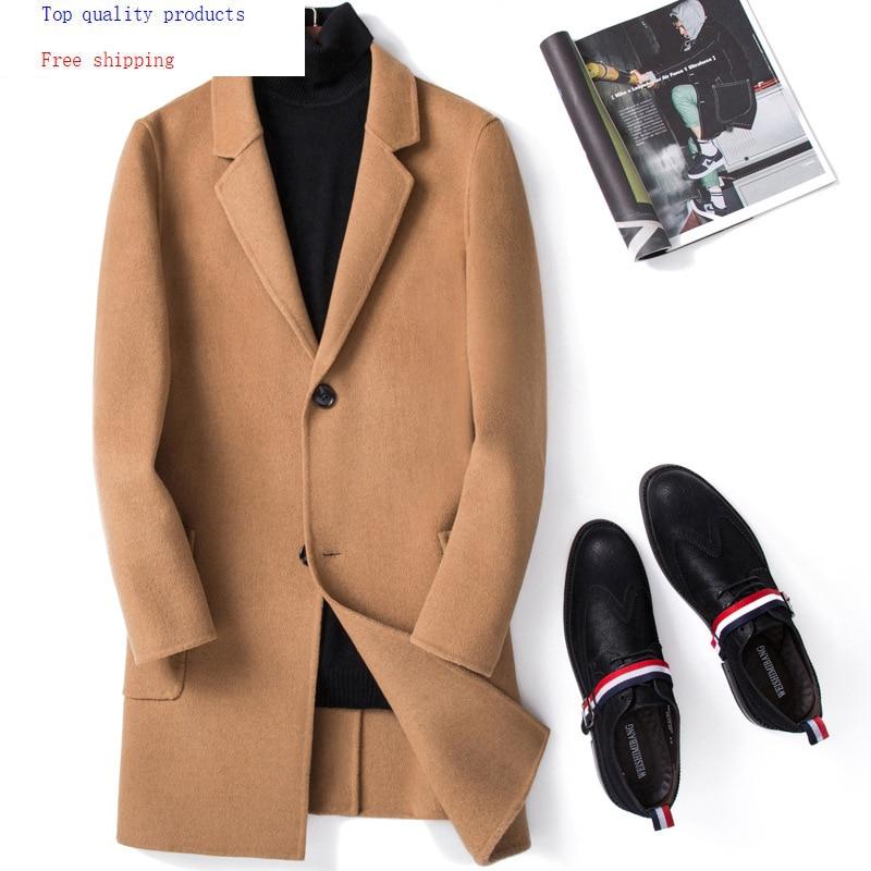 2020 Double-sided Wool Coat Men Overcoat Long Jacket Men Slim Korean Mens Coats and Jackets Casaco Masculino M063 KJ2453