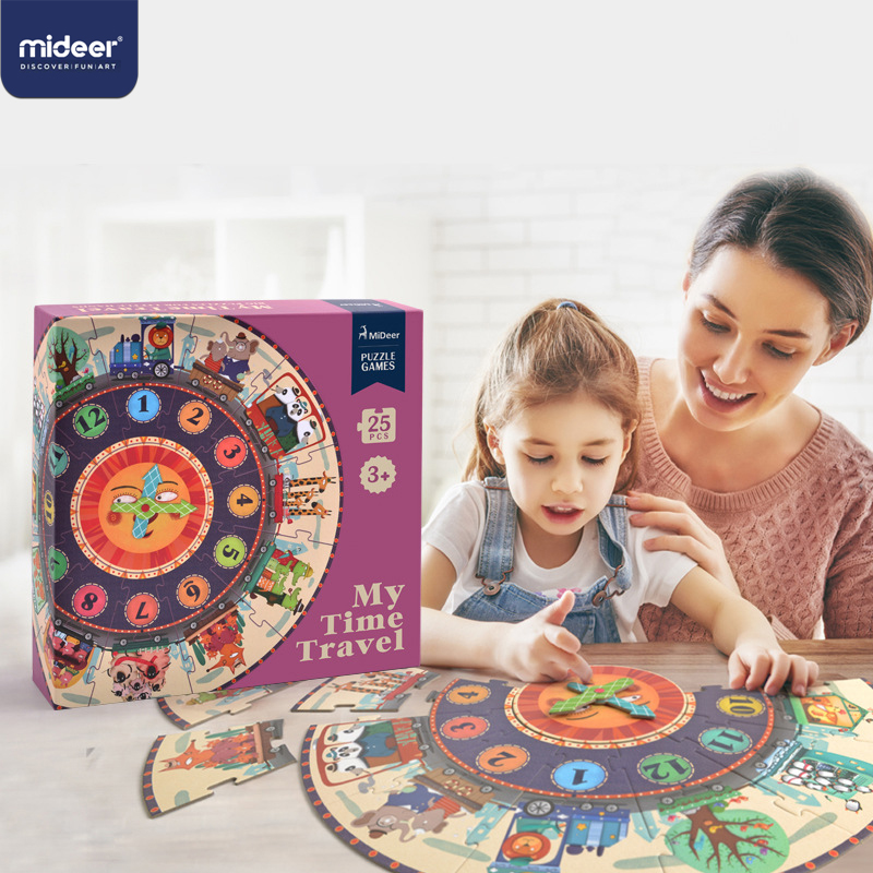 MiDeer 25PCS Baby Puzzle Digital Clock Paper Puzzles For Kids Educational Puzzle For Children Kids Toy Cartoon Gifts  Puzzle Box