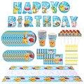 С изображением покемона Пикачу, детская вечеринка для мальчика день рождение поставки одноразовая скатерть бумажный стаканчик, тарелка ша...