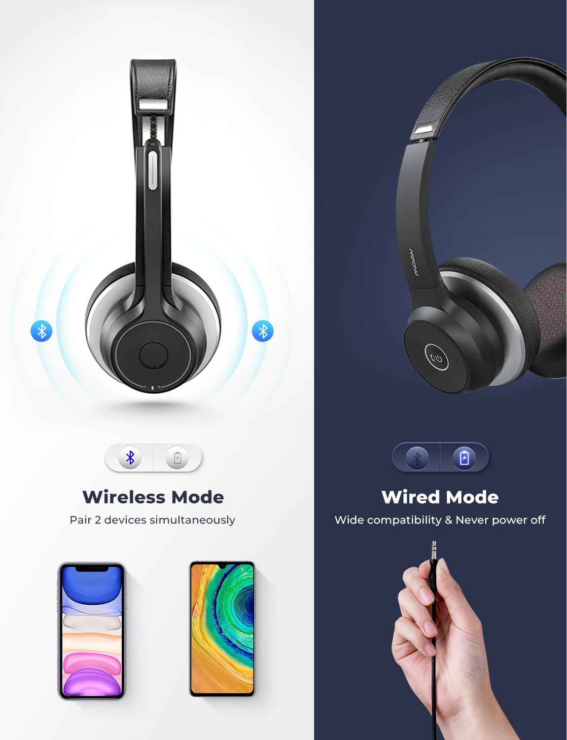 cheapest MPOW HC5 Wireless Bluetooth 5 0 Headphones With Mic CVC 8 0 Noise Cancelling Office Headset 22 Hours Life Earphones PC Phone