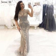 Роскошные без Рукавов Полный алмаз o-образным вырезом сексуальные вечерние платья Дизайн Бисероплетение вечерних платьев размера плюс LA60742