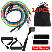 11PCS Workout Expander Pull Rope Resistance Bands Fitness Elastic Rubber Band Home Gym Equipment Yoga Pilates Muscle Exercise