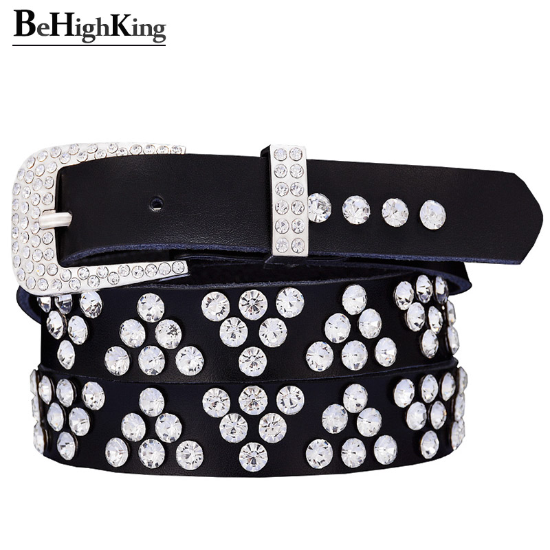 Fashion Genuine Leather Rhinestone Belts For Women Shining Triangle Diamond Belt Woman Narrow Strap Jeans Waistband Width 2.3 Cm