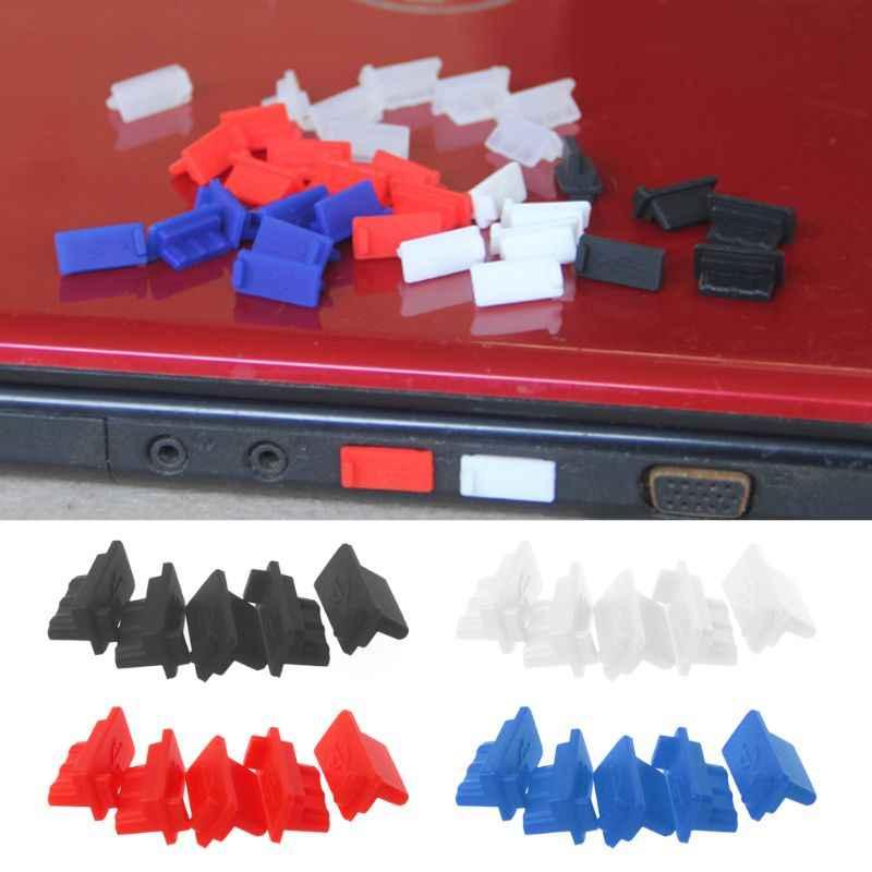 5 Buah USB Debu Plug Charger Port Penutup Perempuan Jack Interface Universal Silikon Tahan Debu Pelindung Tablet PC Notebook Laptop