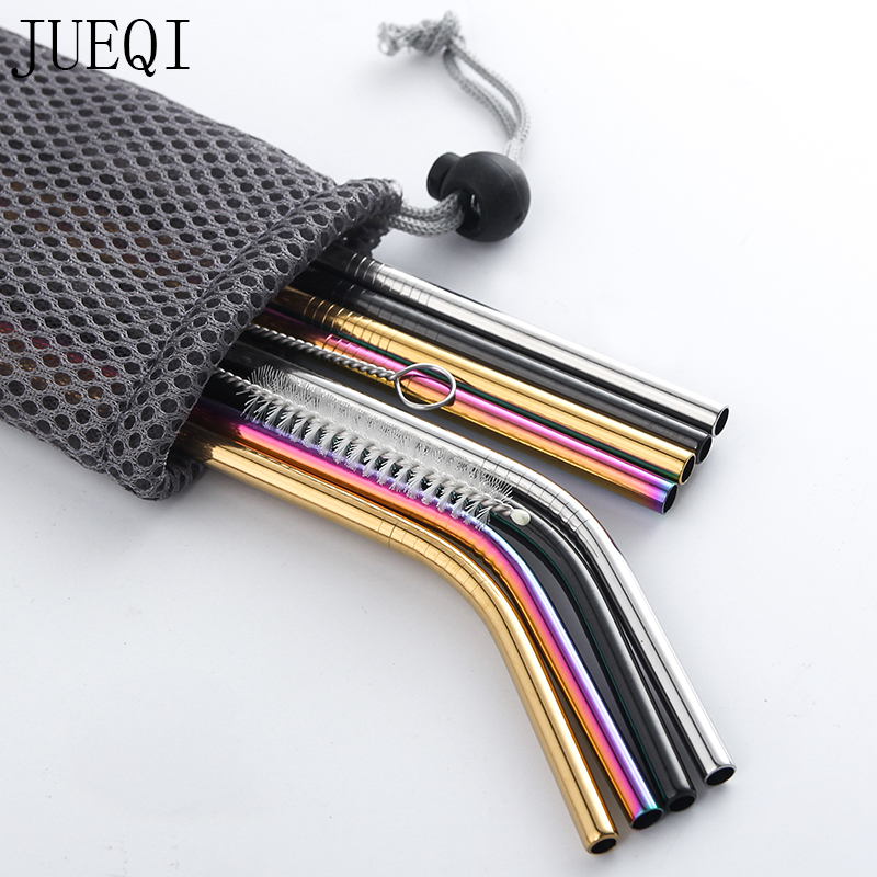4Pcs Color gold stainless steel Drinking Straw Reusable High Quality 304 Stainless Steel Metal