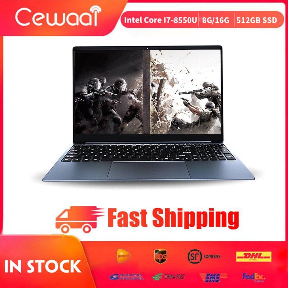 15.6 inch Laptop Intel Core i7-8550U Nvidia MX150-2G 8GB+ 512GB SSD Notebook 2.4G/5G WiFi HDMI USB 3.0 RJ45 Gigabit Metal Body