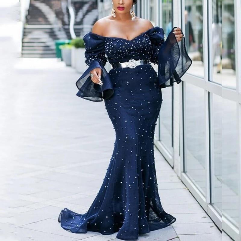 Mesh Party Dress Women African Clothes Slash Neck Evening Dress Elegant Pearl Flare Sleeve Long Fishtail Dress Plus Size 5XL 4XL