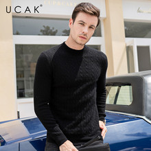UCAK Brand Pure Merino Wool Sweater Men Casual Striped Pull Homme O-Neck Pullover Men Autumn Winter Warm Cashmere Sweaters U3097