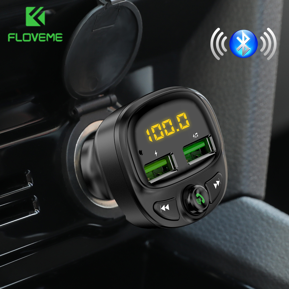 FLOVEME Car Charger Bluetooth Dual USB Mobile Car Phone Charger Fm Transmitter HandFree Fast Charging MP3 TF Card Music Car Kit