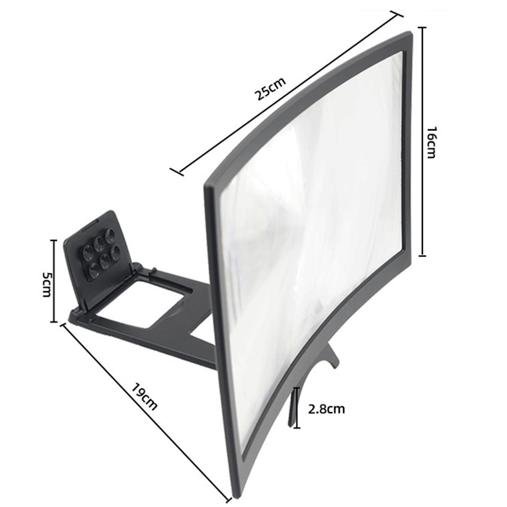 """12"""" 3D Mobile Phone Screen Magnifier Bracket Enlarge Stand Eyes Protection Curved Folding Video Screen Display Amplifier 6"""