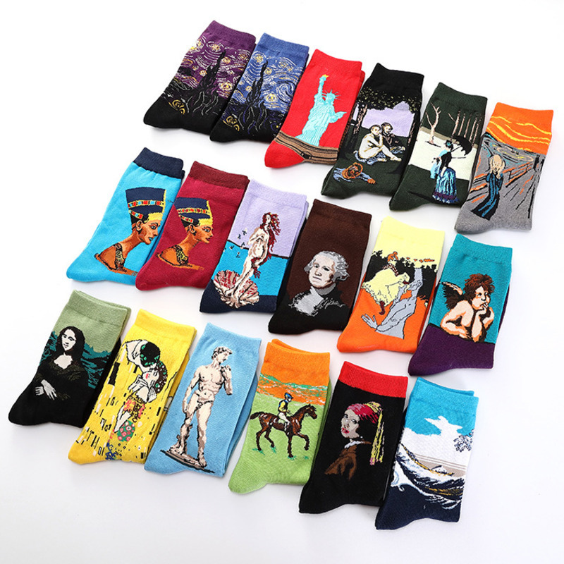 1 Pair Colorful Men's Socks Harajuku Happy Funny Causal Cotton Socks Starry Night Art Oil Painting  For Wedding Christmas Gift
