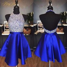 Rhinestone Royal Blue Homecoming Dress 2019 Halter Neck Satin A line Skirt Graduation Open Back Sexy Beads Cocktail Gown