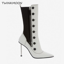 Buy Black and White Leather Women's Boots Gothic Vintage Style Button Elastic Material Shoes Metal High Heels Women's Ankle Boots directly from merchant!