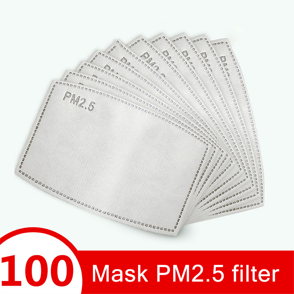 100 /10 Pcs PM 2.5 Mask Filter Anti Haze 5 Layers Mask Activated Carbon Filter Replaceable For Adults Mouth Mask Health Care