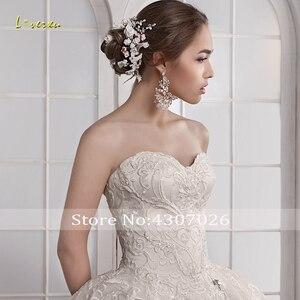 Image 5 - Loverxu מתוקה כדור שמלת חתונת שמלות אלגנטי Applique שרוולים תחרה עד הכלה שמלות משפט רכבת כלה שמלה בתוספת גודל